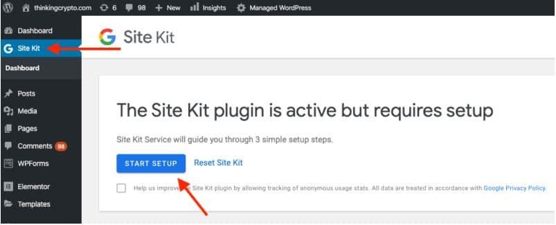 google site kit start up