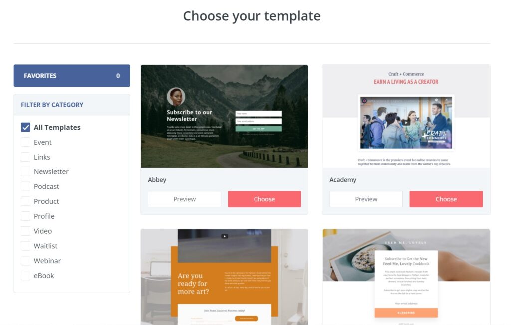 choosing template for creating landing page